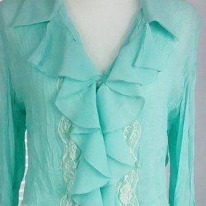 Blue Ruffle Bell Sleeve Blouse / Shirt SZ-L